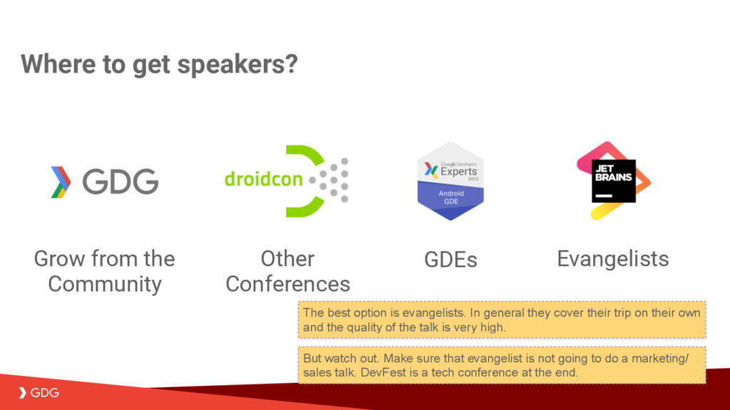 Where to get speakers? Evangelists GDEs Other C...