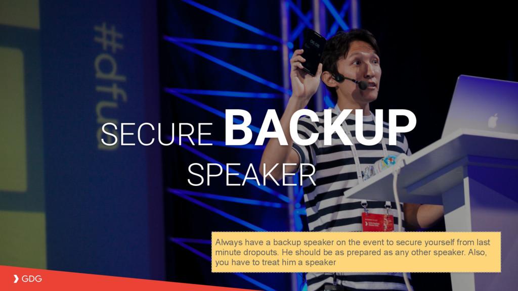 SECURE BACKUP SPEAKER Always have a backup spea...