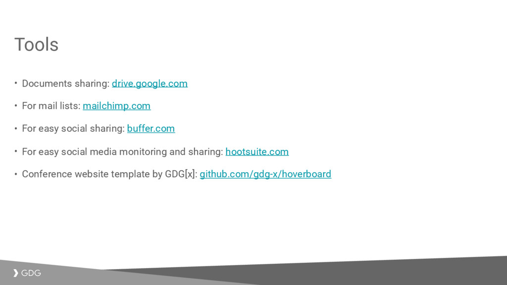 Tools • Documents sharing: drive.google.com • F...