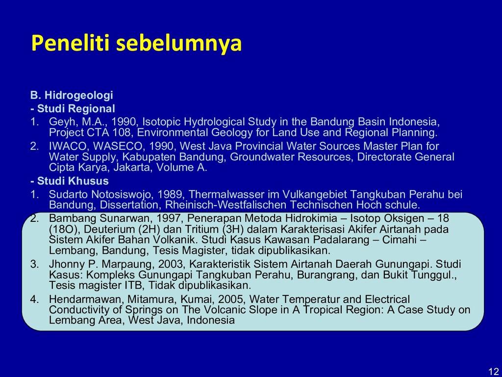 12 Peneliti sebelumnya B. Hidrogeologi - Studi ...