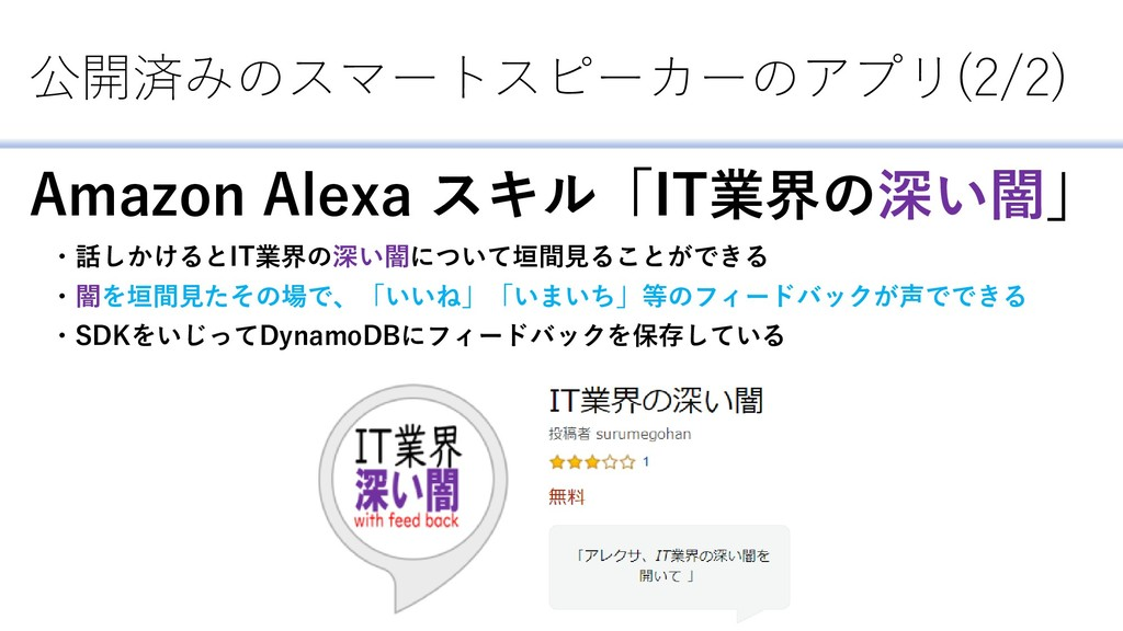 公開済みのスマートスピーカーのアプリ(2/2) Amazon Alexa スキル「IT業界の深...