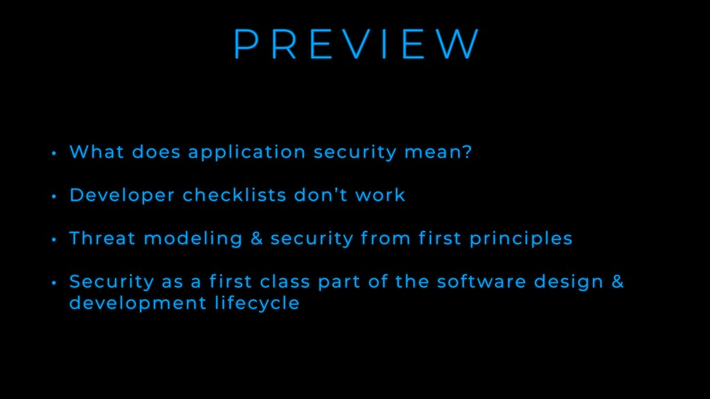 P R E V I E W • What does application security ...