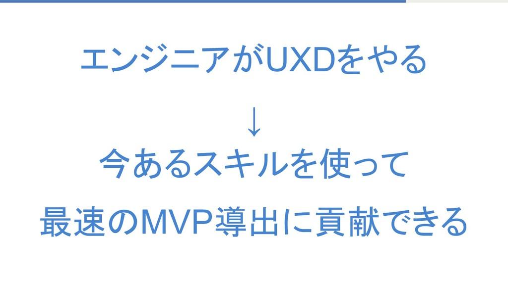 エンジニアがUXDをやる ↓ 今あるスキルを使って 最速のMVP導出に貢献できる