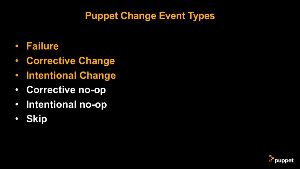 Puppet Change Event Types • Failure • Correctiv...