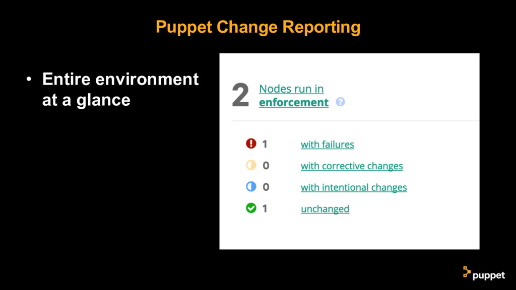 Puppet Change Reporting • Entire environment at...