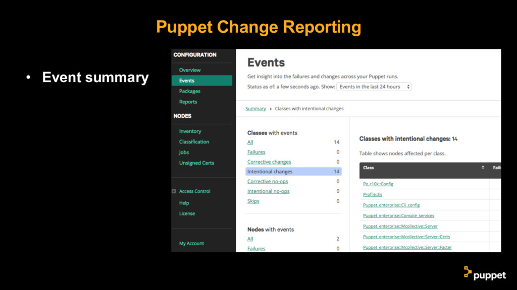 Puppet Change Reporting • Event summary