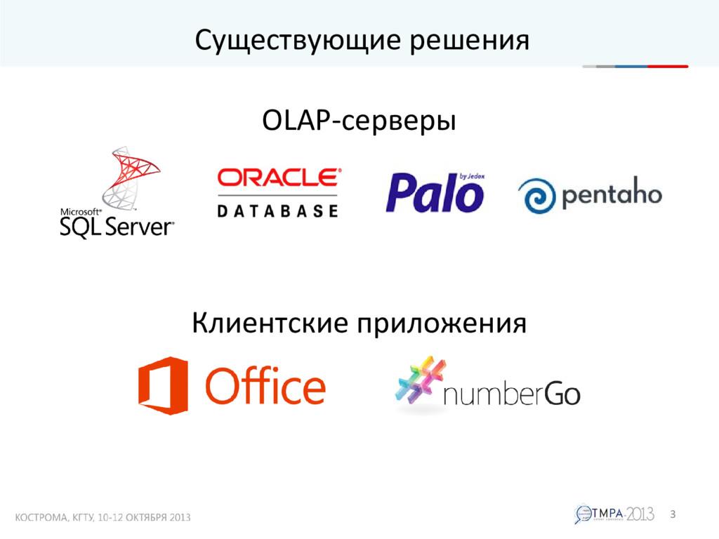 Существующие решения 3 OLAP-серверы Клиентские ...