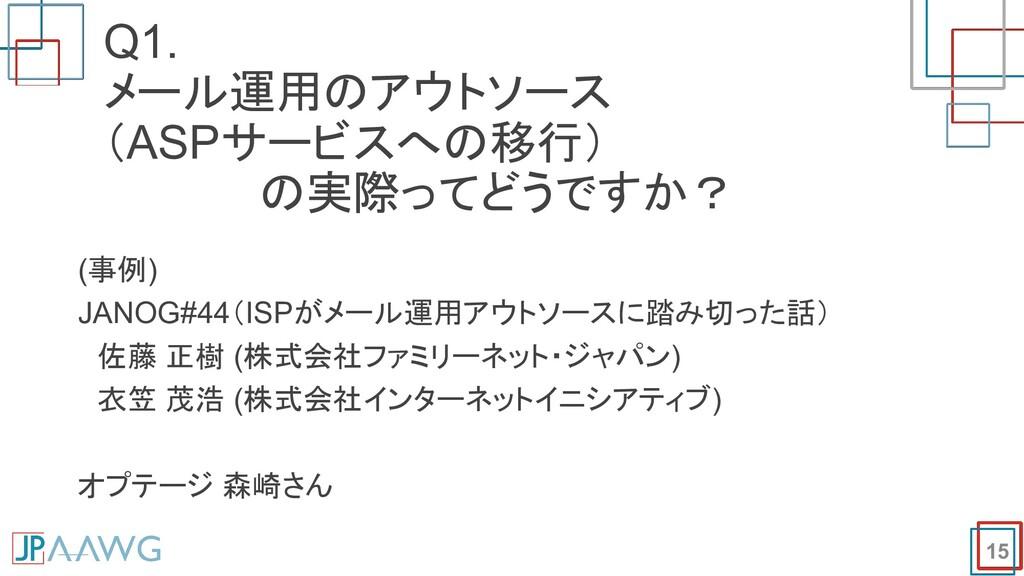 Q1. メール運用のアウトソース (ASPサービスへの移行)      の実際ってどうですか?...
