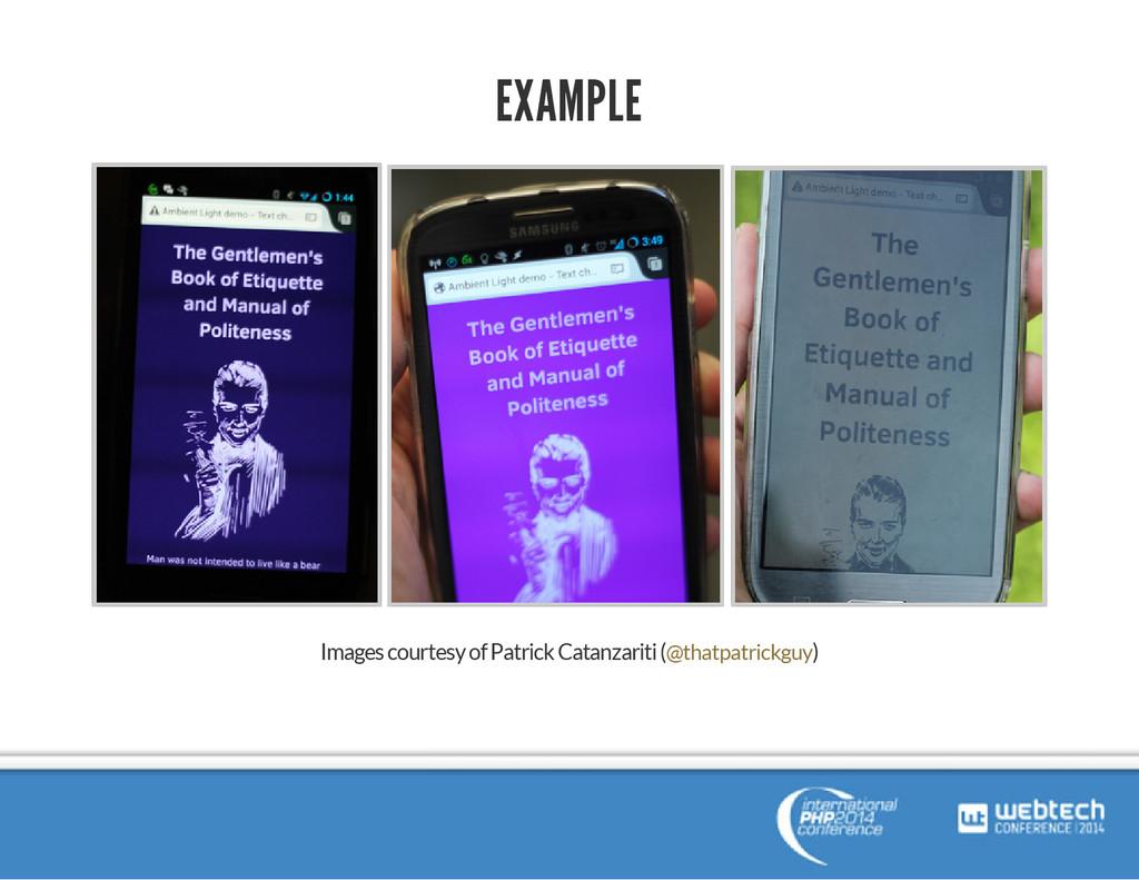 EXAMPLE Images courtesy of Patrick Catanzariti ...