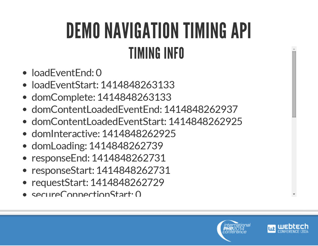 DEMO NAVIGATION TIMING API TIMING INFO loadEven...