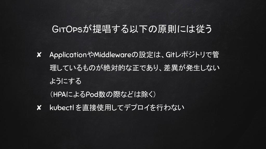 GitOpsが提唱する以下の原則には従う ✘ ApplicationやMiddlewareの設...