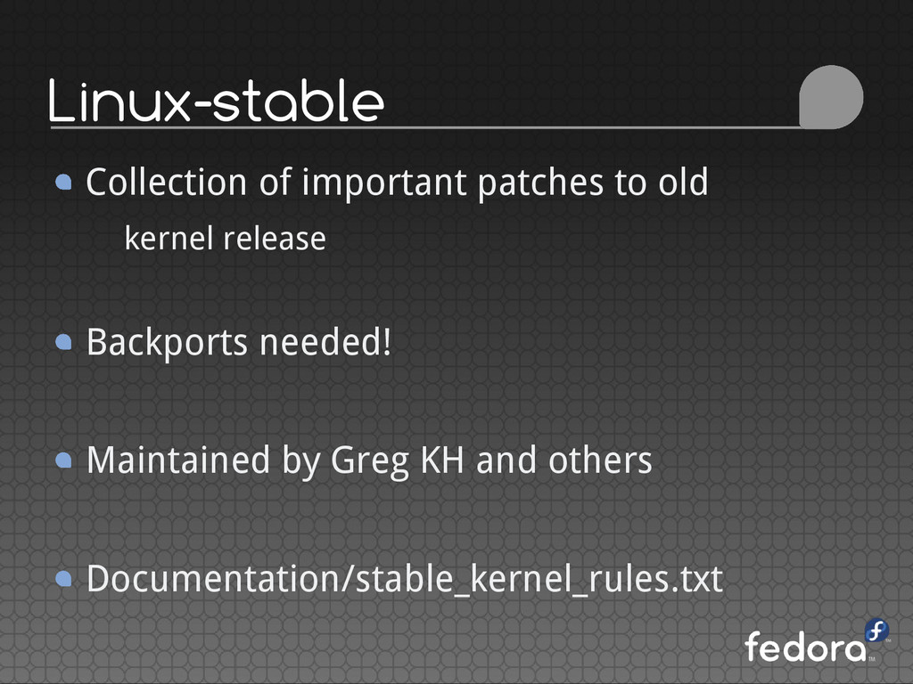 Linux-stable Collection of important patches to...