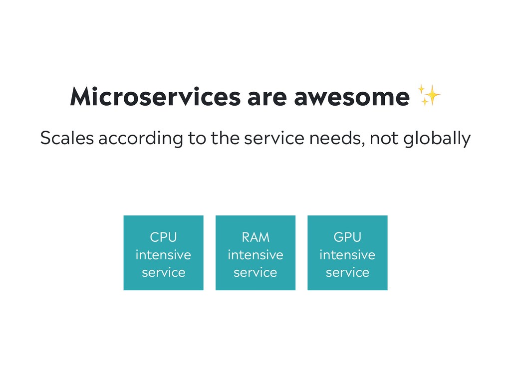 Microservices are awesome ✨ Scales according to...