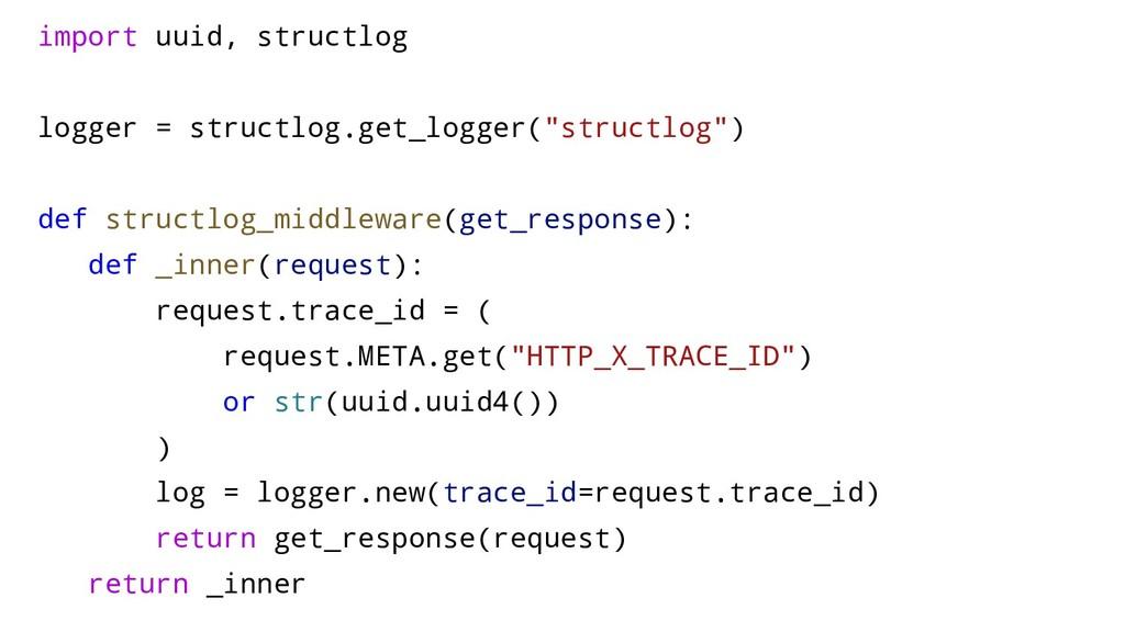 import uuid, structlog logger = structlog.get_l...