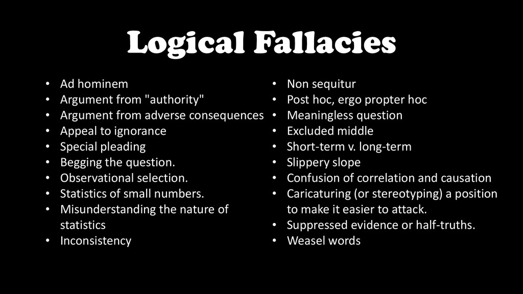 Logical Fallacies • Ad hominem • Argument from ...