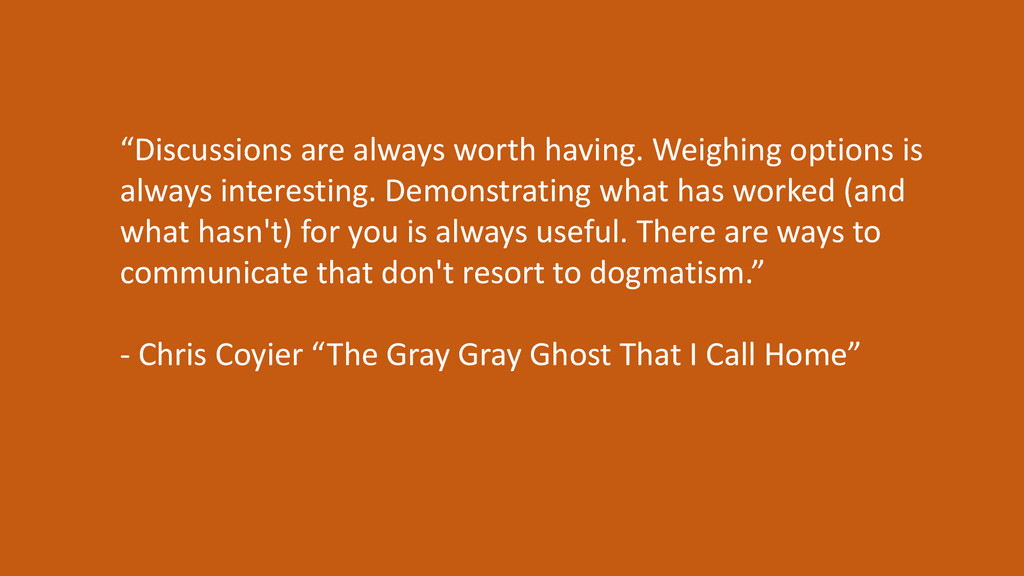 """""""Discussions are always worth having. Weighing ..."""
