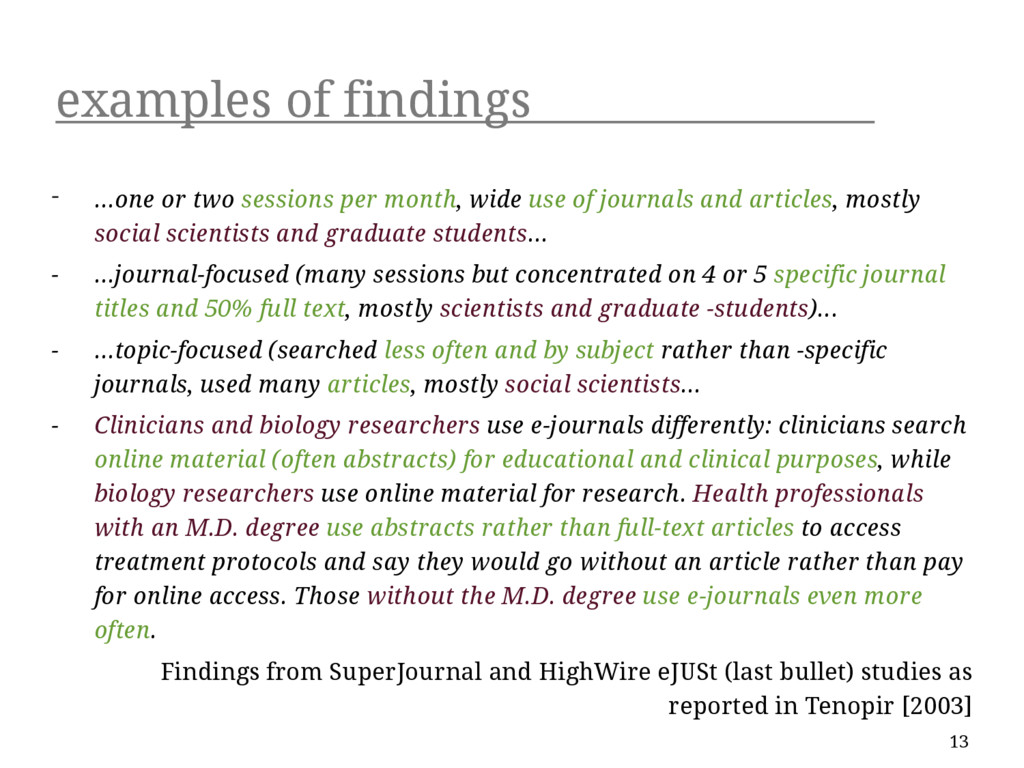 examples of findings - ...one or two sessions p...