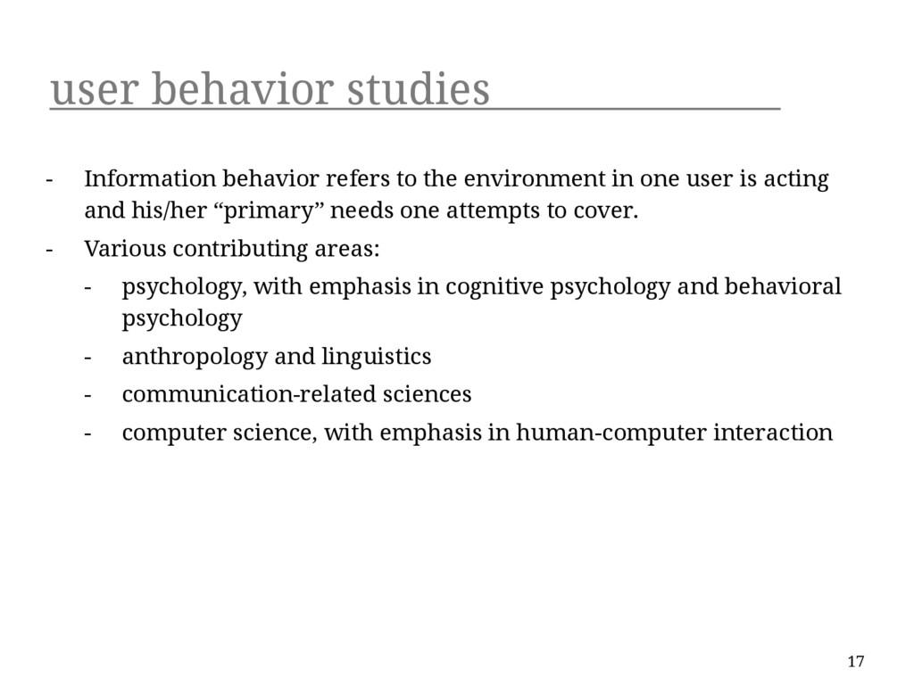 user behavior studies - Information behavior re...