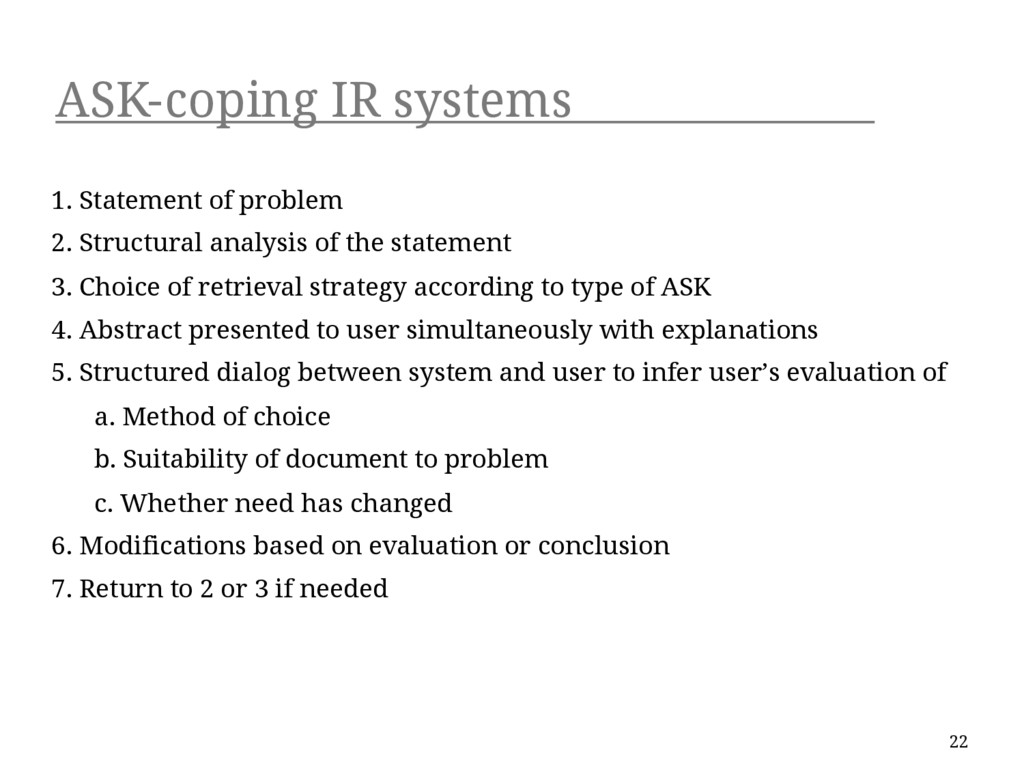 ASK-coping IR systems 1. Statement of problem 2...