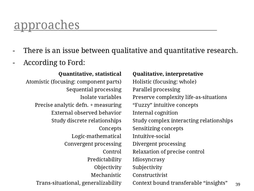 approaches - There is an issue between qualitat...