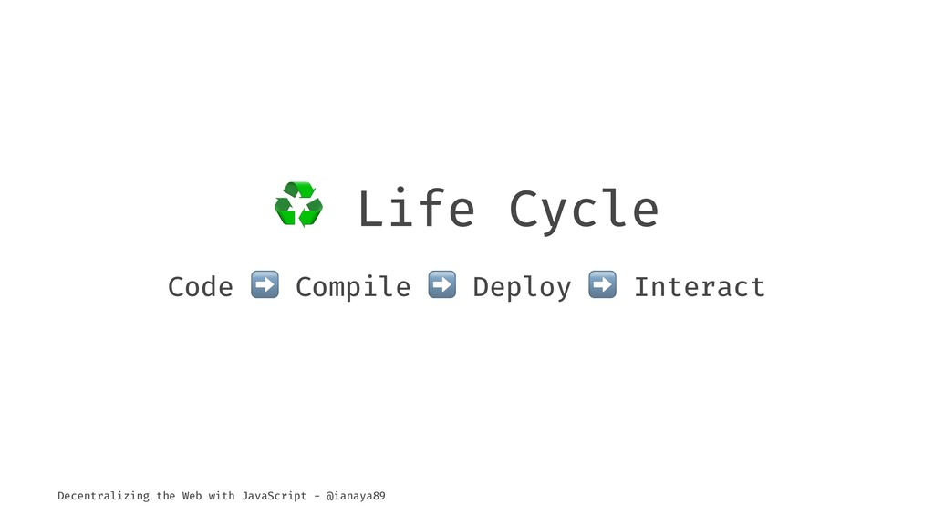 ♻ Life Cycle Code ➡ Compile ➡ Deploy Interact D...