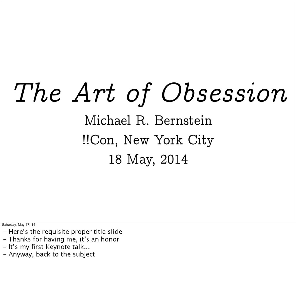 The Art of Obsession Michael R. Bernstein !!Con...