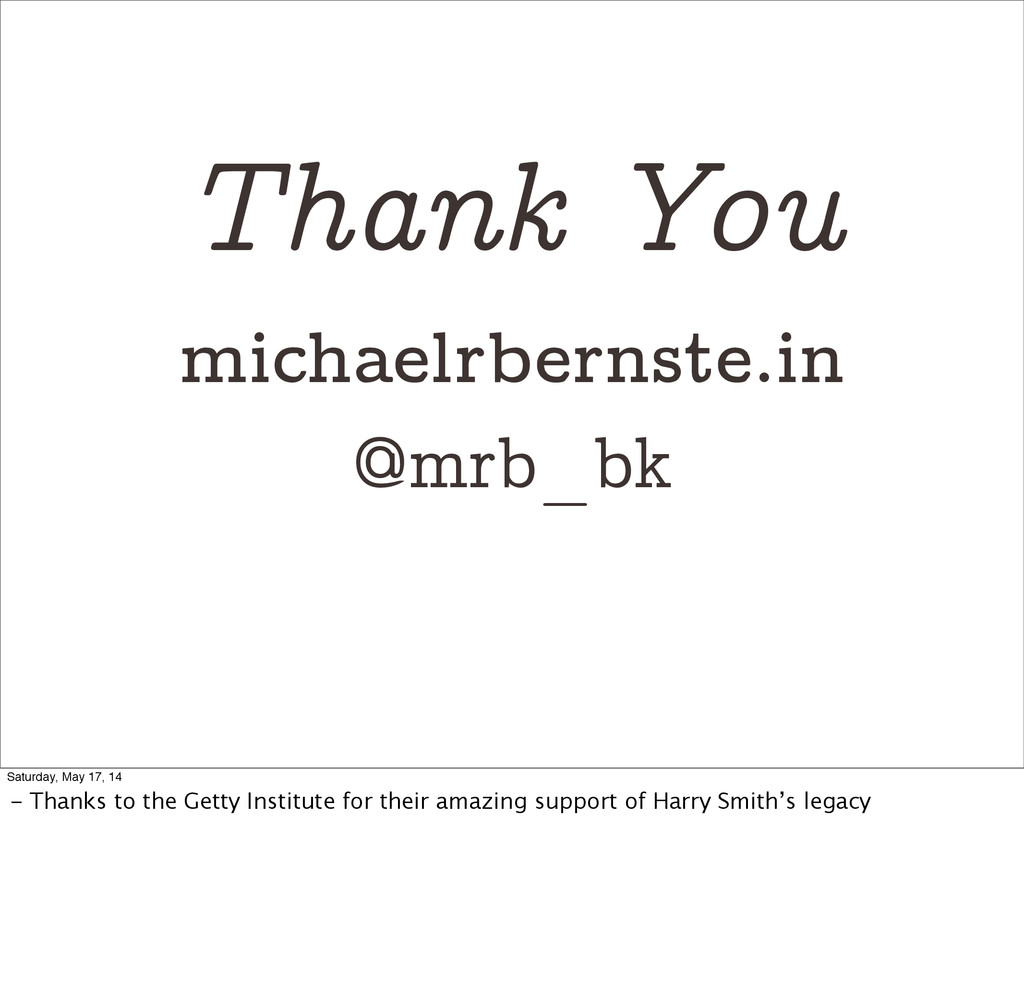 Thank You michaelrbernste.in @mrb_bk Saturday, ...
