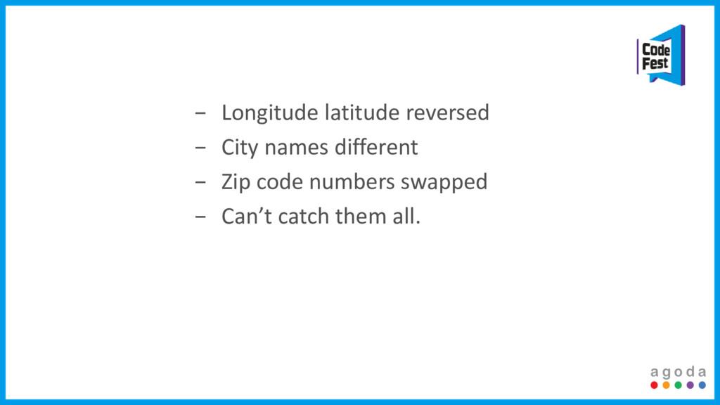 − Longitude latitude reversed − City names diff...