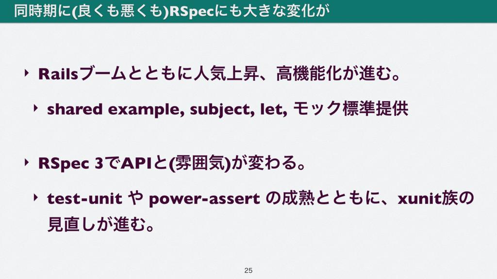 ‣ RailsϒʔϜͱͱʹਓؾ্ঢɺߴػԽ͕ਐΉɻ ‣ shared example, s...