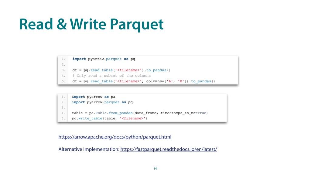 Read & Write Parquet 14 https://arrow.apache.or...