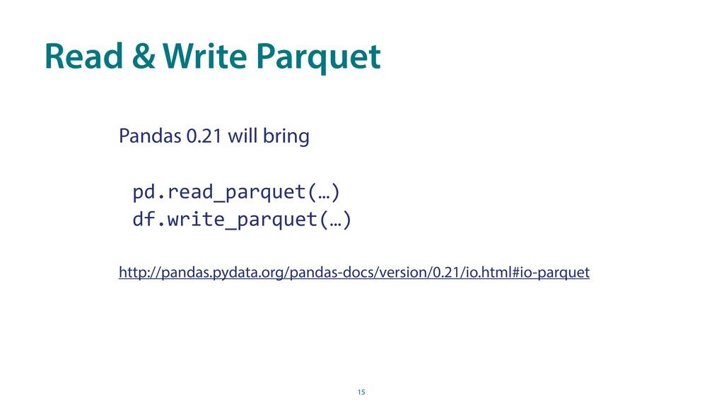 Read & Write Parquet 15 Pandas 0.21 will bring ...