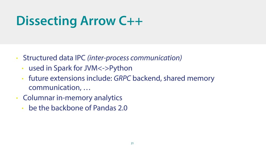 21 Dissecting Arrow C++ • Structured data IPC (...