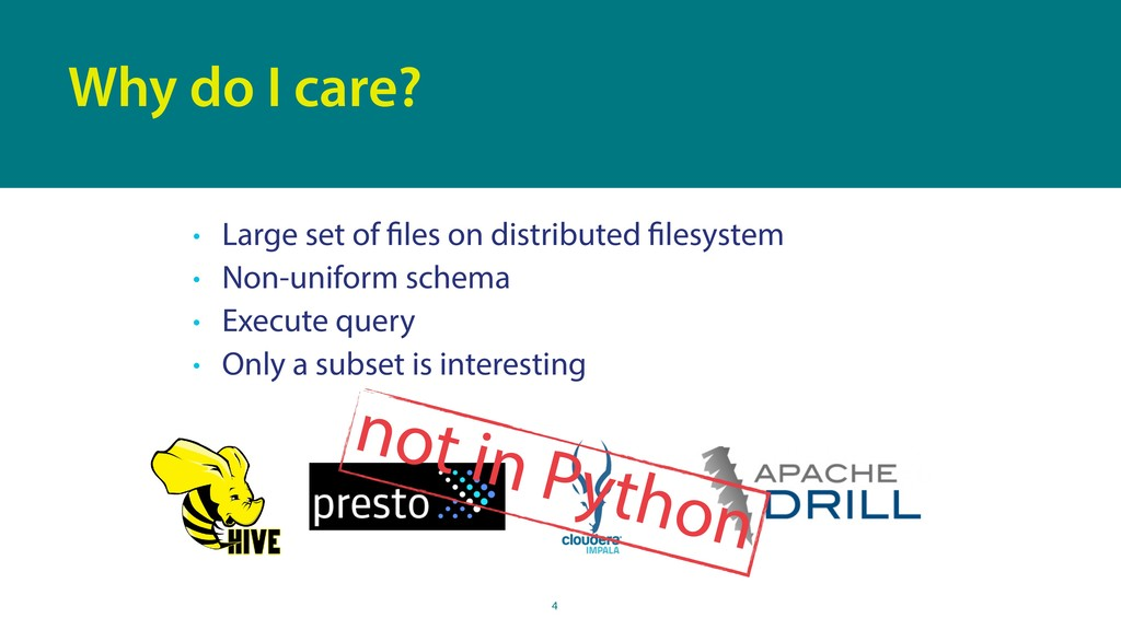 • Large set of files on distributed filesystem ...