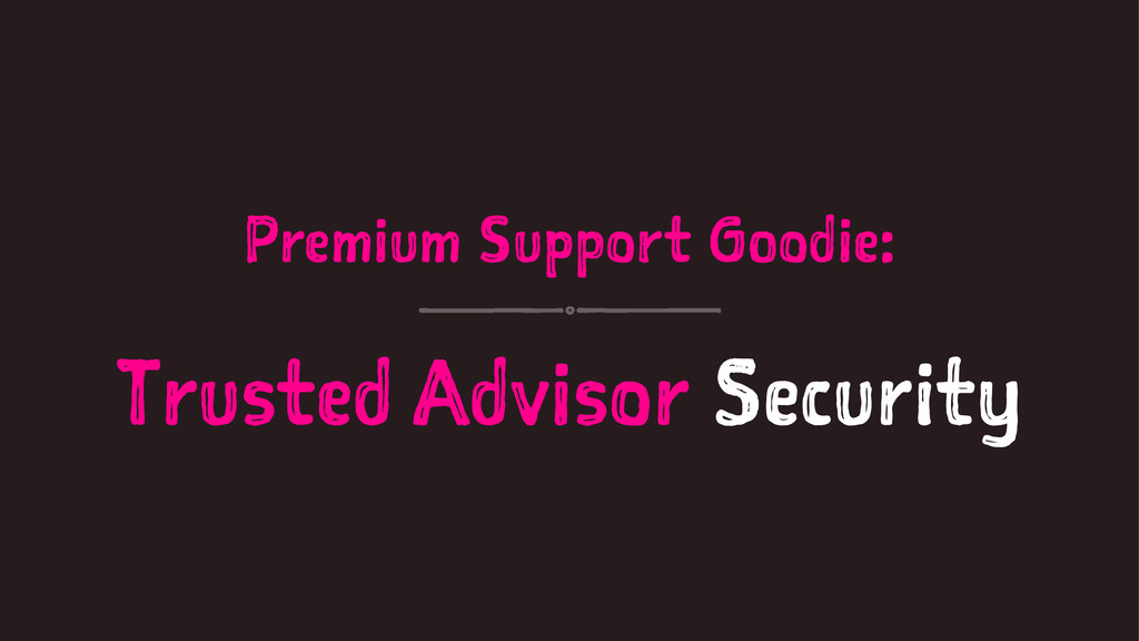 Premium Support Goodie: Trusted Advisor Security