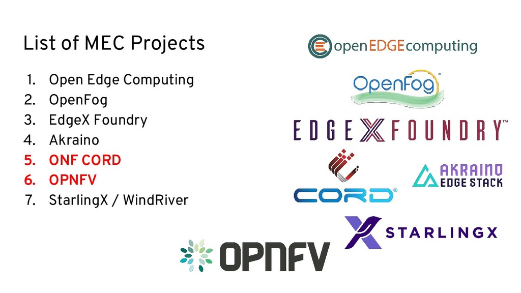 List of MEC Projects 1. Open Edge Computing 2. ...