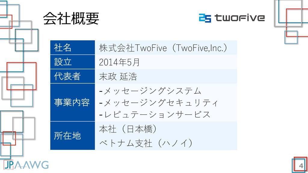 会社概要 4 社名 株式会社TwoFive(TwoFive,Inc.) 設⽴ 2014年5⽉ ...