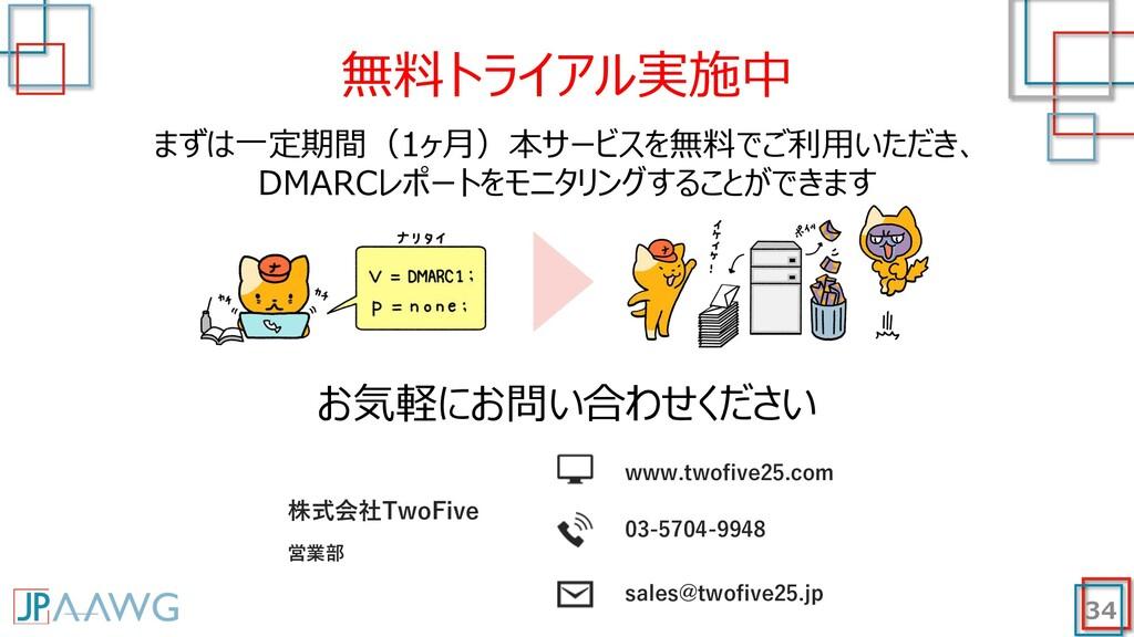 34 無料トライアル実施中 まずは⼀定期間(1ヶ⽉)本サービスを無料でご利⽤いただき、 DMA...