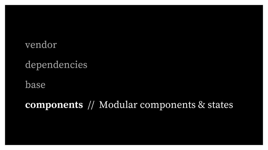 vendor dependencies base components // Modular ...