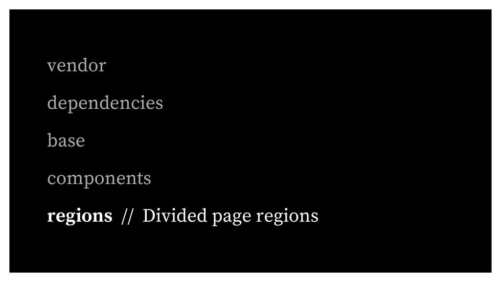 vendor dependencies base components regions // ...