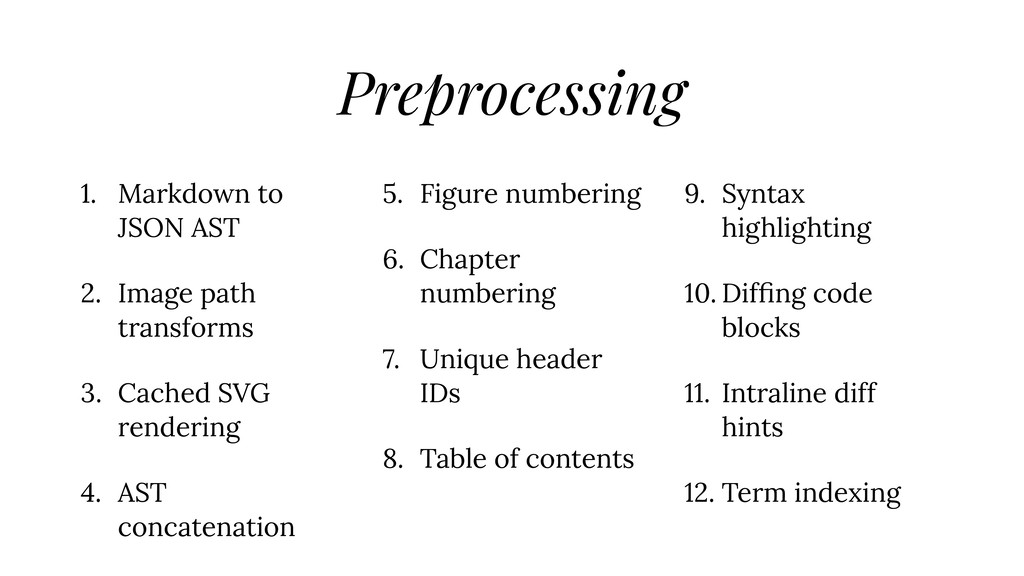 Preprocessing 1. Markdown to JSON AST 2. Image ...