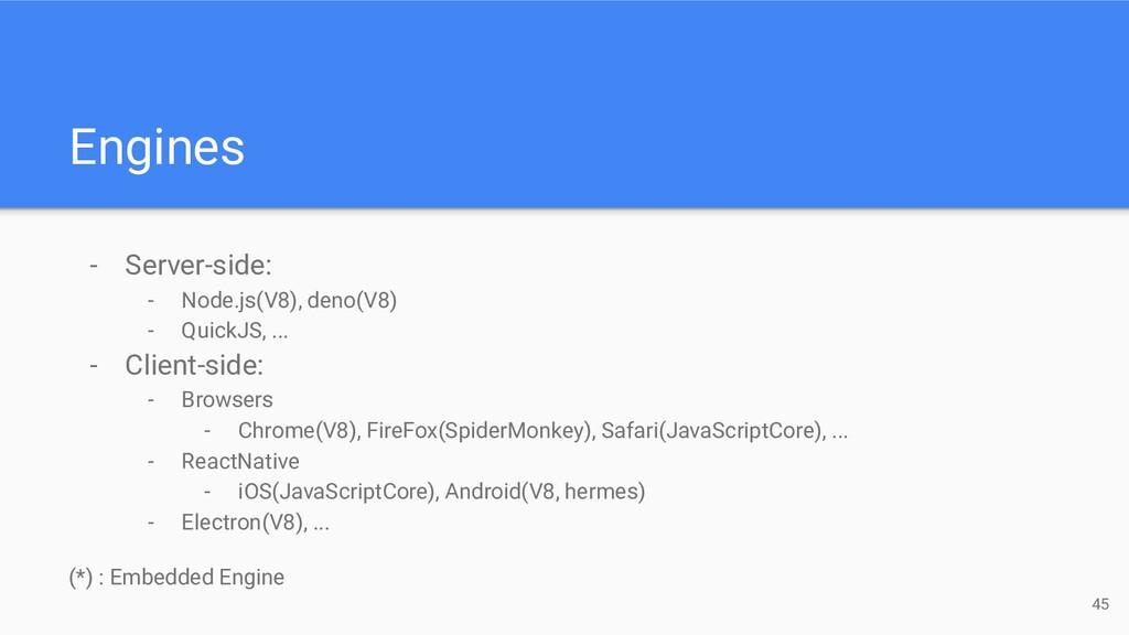 - Server-side: - Node.js(V8), deno(V8) - QuickJ...