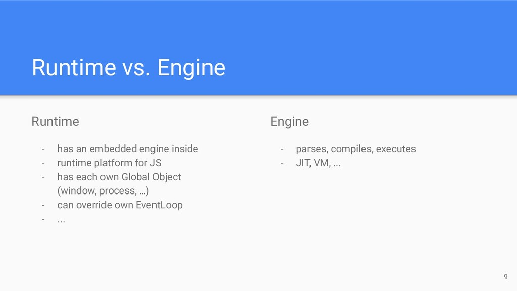 Engine - parses, compiles, executes - JIT, VM, ...