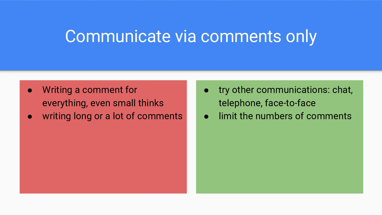 Communicate via comments only ● Writing a comme...