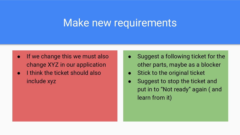 Make new requirements ● If we change this we mu...