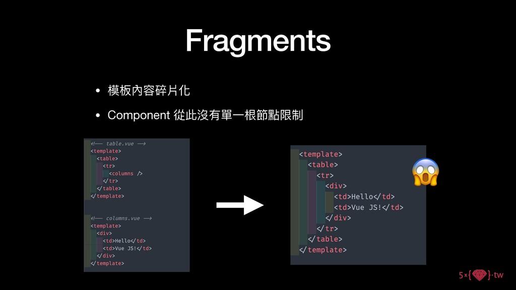Fragments • 模板內容碎片化  • Component 從此沒有單⼀根節點限制