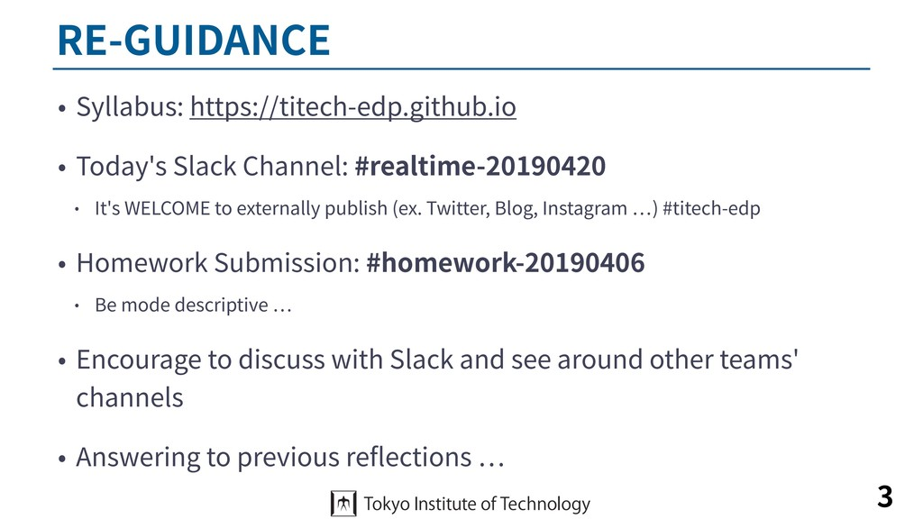 RE-GUIDANCE • Syllabus: https://titech-edp.gith...