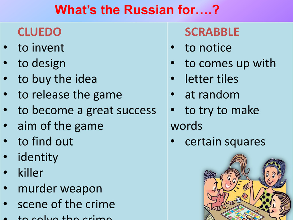 What's the Russian for….? CLUEDO • to invent • ...