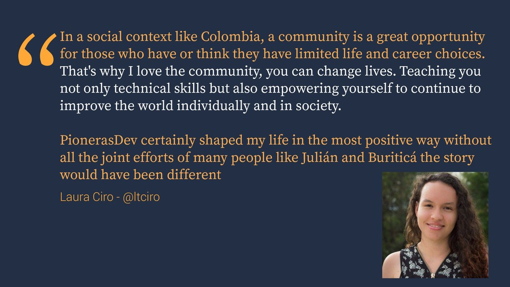 """""""In a social context like Colombia, a community..."""
