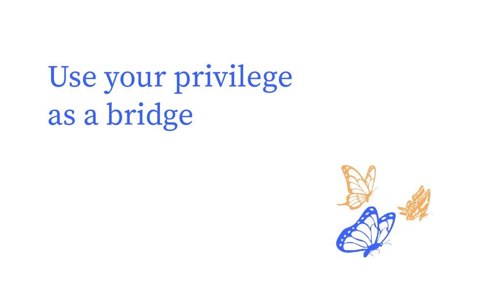 Use your privilege as a bridge