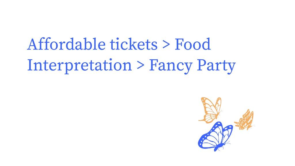 Affordable tickets > Food Interpretation > Fanc...